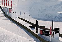 Le tracé de l'étape de VTT slopestyle sur neige à Peyragudes, FISE Expérience 2011