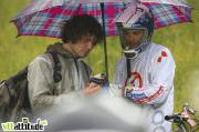 Romain Saladini, team Sunn, au sec en attendant le départ. Championnat de France de VTT 4X 2009, Oz en Oisans.