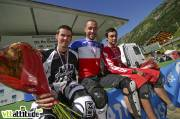 Fabien Barel devient champion de France de VTT de descente 2009 à Oz en Oisans. Il est accompagné sur le podium par Mickaël Pascal et Fabien Pédemanaud.