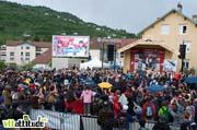 Podium de la coupe du monde de VTT descente