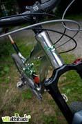 La finition alu brut / anodisé vert de l'Agile de Labyrinth Bikes : classieuse !